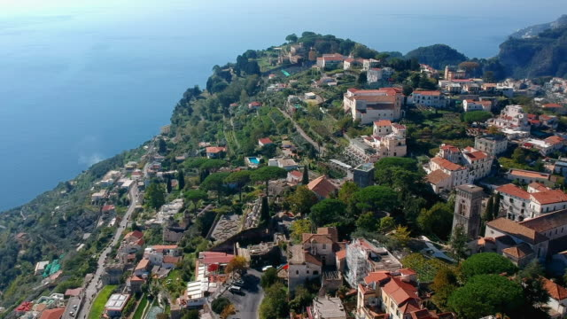 Aerial: Cliffside Town, Positano Italy