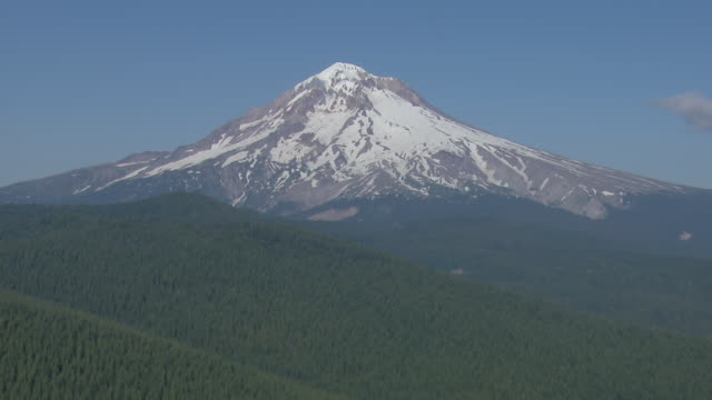 Aerial close up of the snow covered peak of Mount Hood, in Oregon.