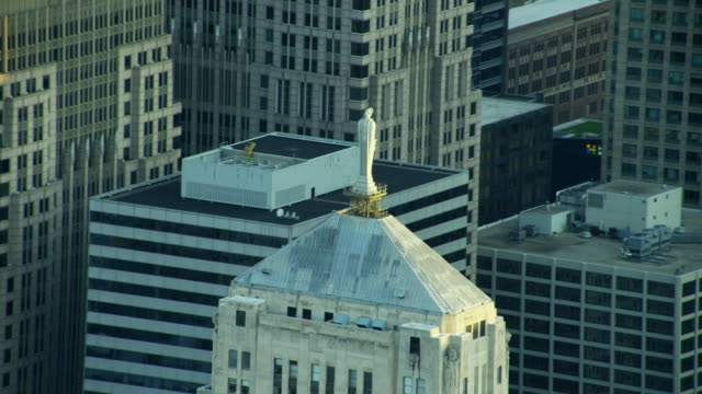 Aerial close up view Board of Trade Chicago