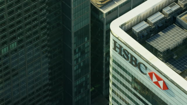 aerial close up view of modern architecture in - canary wharf stock videos & royalty-free footage