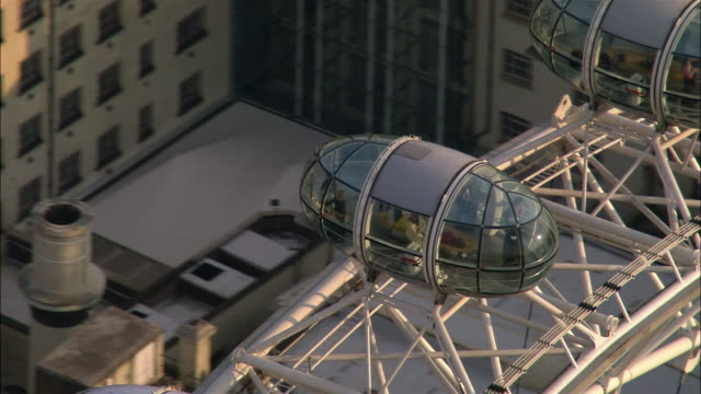 Aerial close-up of capsules of London Eye / London