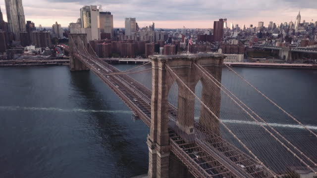 Aerial closeup shot of New York City's Brooklyn Bridge.