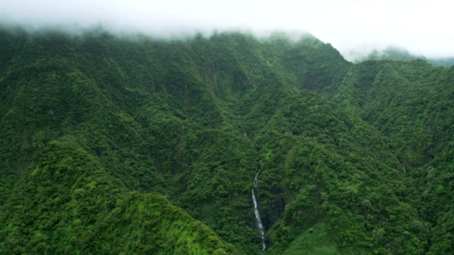 Aerial cloud view of valley waterfalls Molokai USA