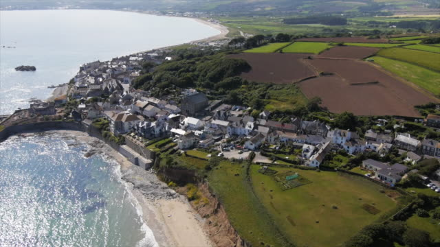 aerial, coastal cornwall uk town - cornwall england stock videos & royalty-free footage