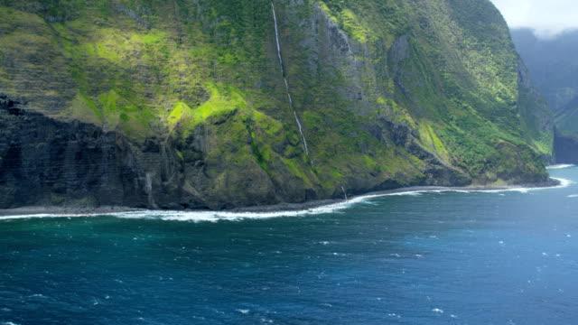 aerial coastal mountain view of waterfalls molokai usa - polynesian ethnicity stock videos & royalty-free footage