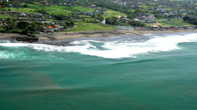 Aerial coastal Resorts and Plantation rice fields Bali