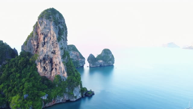 Aerial, coastal rock formations in Thailand