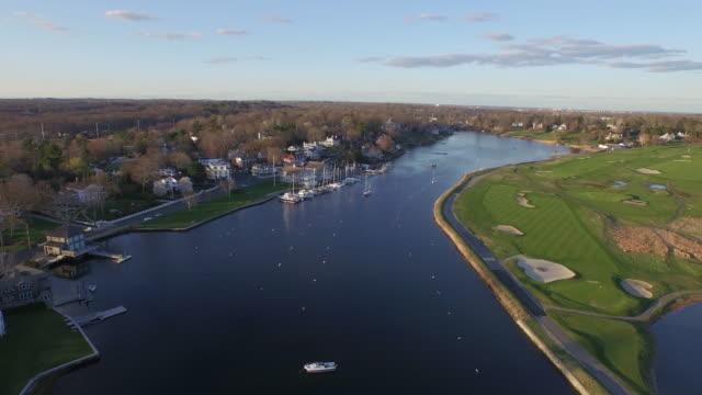 Aerial coastal town, 4K