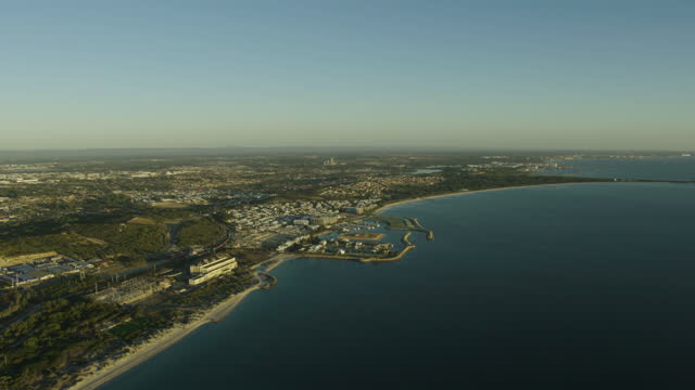 aerial coastal view cockburn residential suburbs coogee perth - フリーマントル点の映像素材/bロール