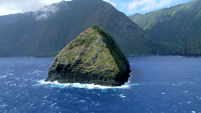 aerial coastal view of okala island molokai hawaii - hawaii inselgruppe stock-videos und b-roll-filmmaterial