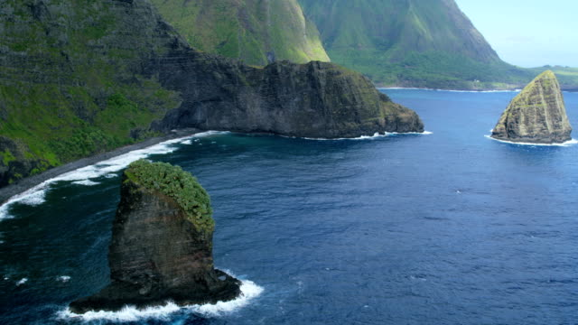 Aerial coastal view of Okala Island Molokai Hawaii