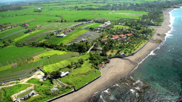 Aerial coastal view of plantation rice fields Bali