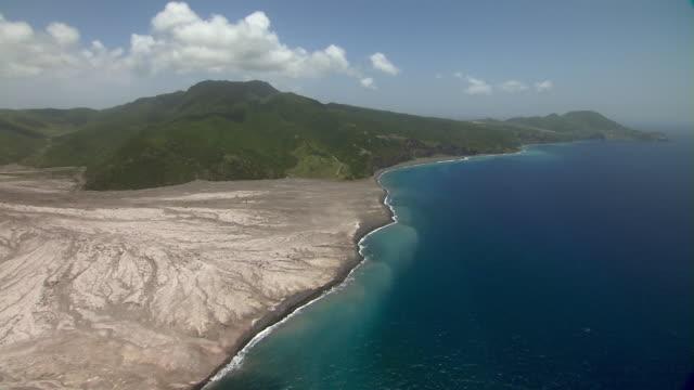 Aerial coastline of Montserrat Island in the Caribbean.