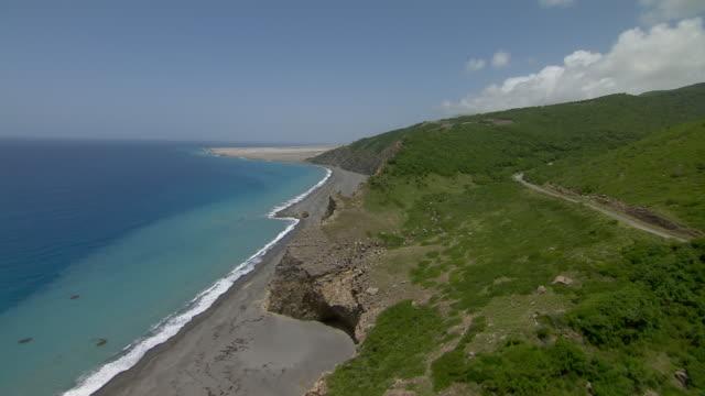 Aerial coastline of Montserrat Island.