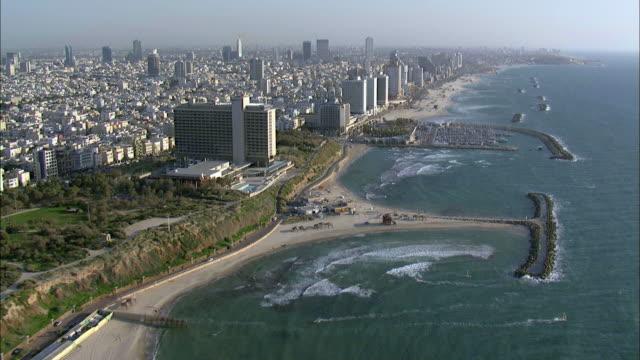 aerial coastline, tel aviv, israel - tel aviv stock videos & royalty-free footage