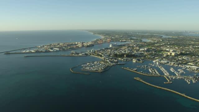 aerial coastline view fremantle harbor cargo port perth - フリーマントル点の映像素材/bロール