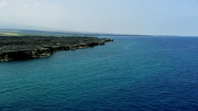 aerial coastline view lava spills mauna loa volcano - mauna loa stock videos and b-roll footage
