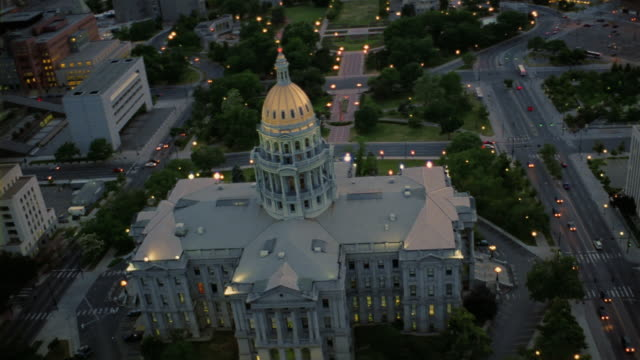 aerial colorado state capitol building and cityscape/ denver, colorado - dome stock videos & royalty-free footage
