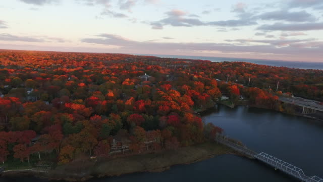 aerial connecticut autumn - connecticut stock videos & royalty-free footage