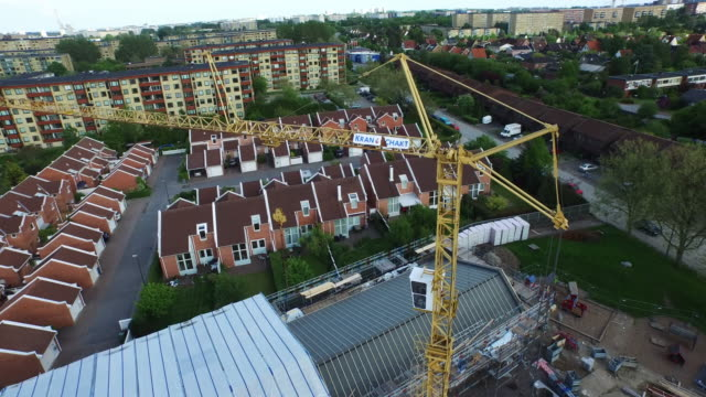 aerial construction in malmo, sweden - malmo stock videos and b-roll footage