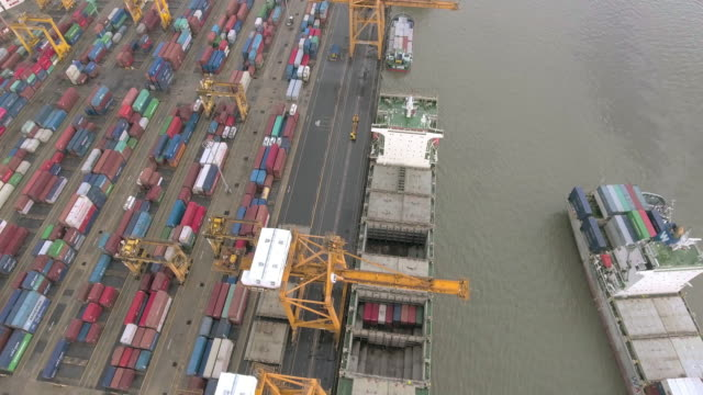aerial container cargo freight at ship yard for logistic import export - demobilisation stock videos & royalty-free footage