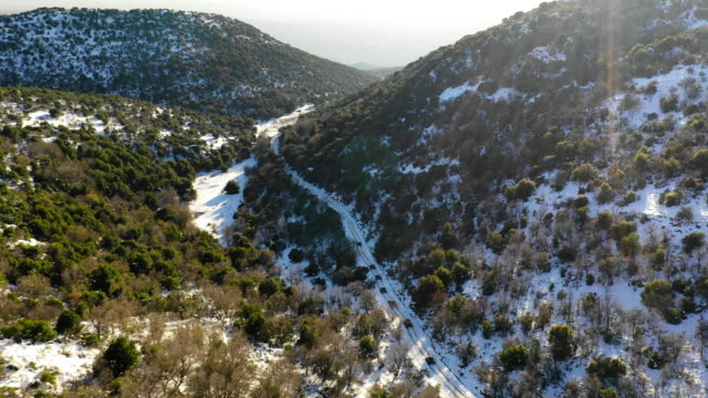 aerial: convoy of black cars drives down snowy lane in lush mountains - mount hermon, israel - convoy stock videos & royalty-free footage