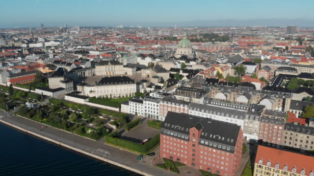 4k aerial copenhagen, denmark - copenhagen video stock e b–roll