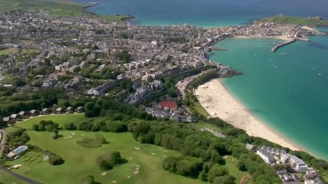 aerial cornwall coastline - bay of water stock videos & royalty-free footage