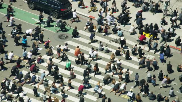 aerial coronavirus black lives matter people wearing masks - protestor stock videos & royalty-free footage