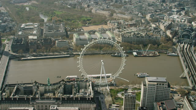 aerial covid19 view london eye closed and deserted - nhs stock videos & royalty-free footage