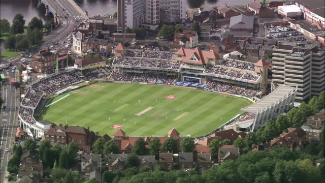 aerial cricket game at edgbaston cricket ground / edgbaston, birmingham, england - cricket video stock e b–roll