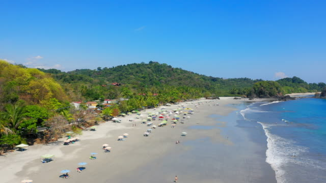 aerial: crowded tropical beach with lounge chairs and umbrellas with untamed lush jungle behind - playa espadilla, costa rica - costa rica stock-videos und b-roll-filmmaterial