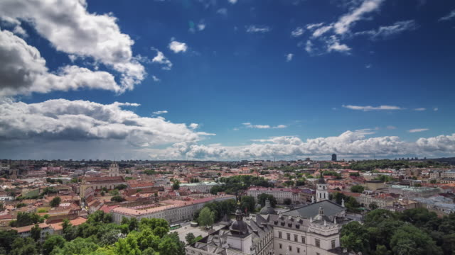 Aerial daily panoramic time lapse of old town at Vilnius, Lithuania.