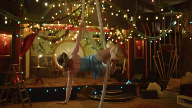 aerial dancer performing on hanging silks in nightclub / provo, utah, united states - provo stock videos and b-roll footage