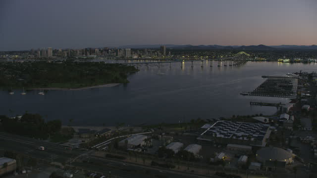 stockvideo's en b-roll-footage met aerial dawn view coronado navel base san diego - navel