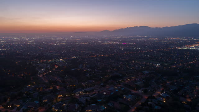 aerial day to night time lapse california landscape - los angeles county stock videos & royalty-free footage