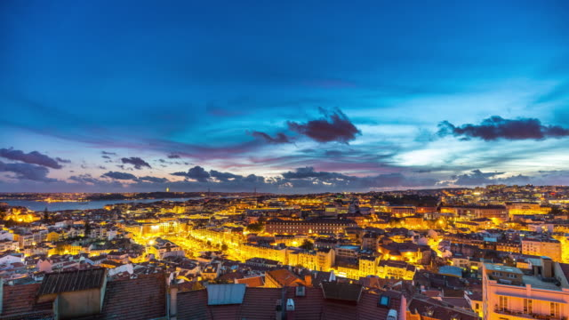 aerial day to night (sunset) timelapse of lisbon city center. portugal. april, 2017 - lisbon stock videos and b-roll footage