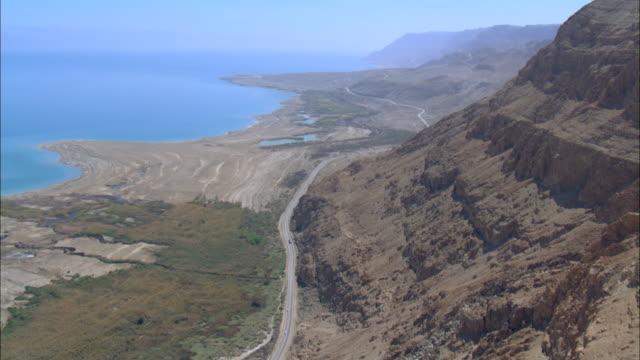 Aerial dead sea cliffs, Judea Desert, Israel