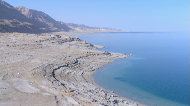 Aerial Dead sea shore near Ein Gedi in the Judea Desert, Israel