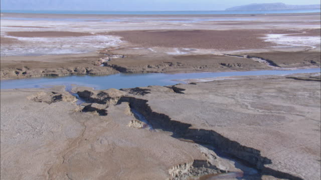 aerial dead sea water canal, israel, southern judea desert - water conservation stock videos & royalty-free footage