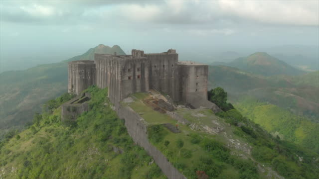 Aerial Descending: People Exploring the Front Castle of Citadel Laferriere