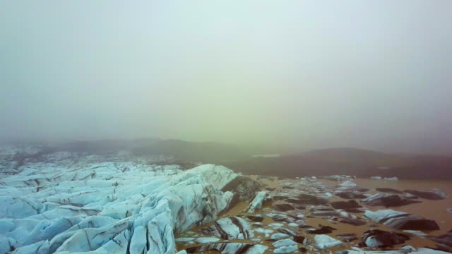 Aerial: Descending Toward the an Icelandic Glacier