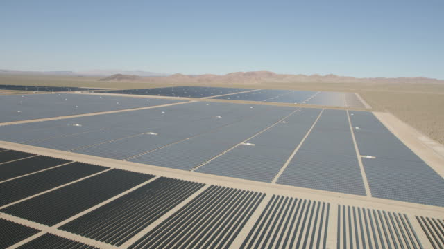 Aerial desert view Photovoltaic solar panels Nevada USA