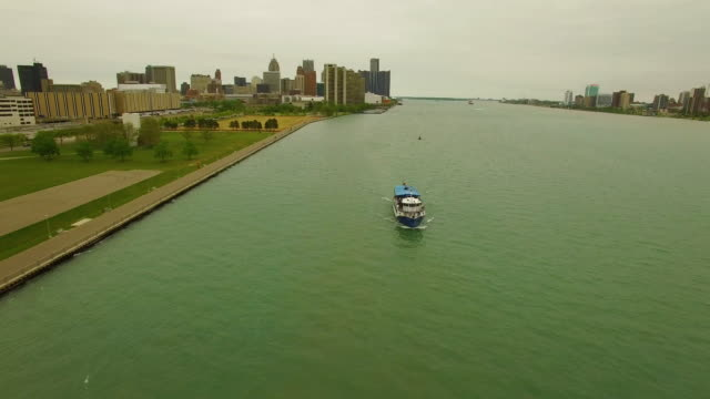 Aerial Detroit River Ferry