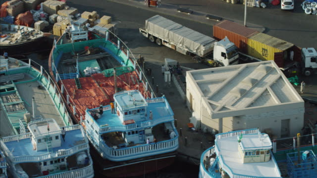 Aerial Dhows Dubai Creek Spice Port boat transport
