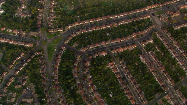 Aerial directly over suburban homes near Croydon, England