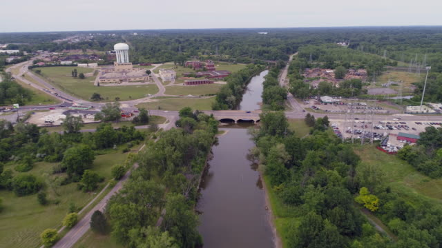 aerial dirty river flint, michigan - michigan stock videos & royalty-free footage