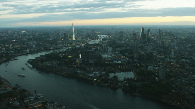 Aerial distant sunset view of River Thames London