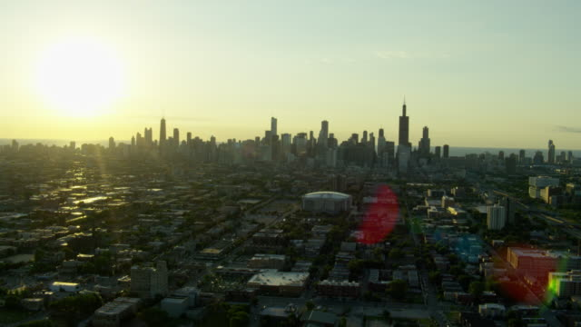 Aerial distant view of Chicago cityscape USA