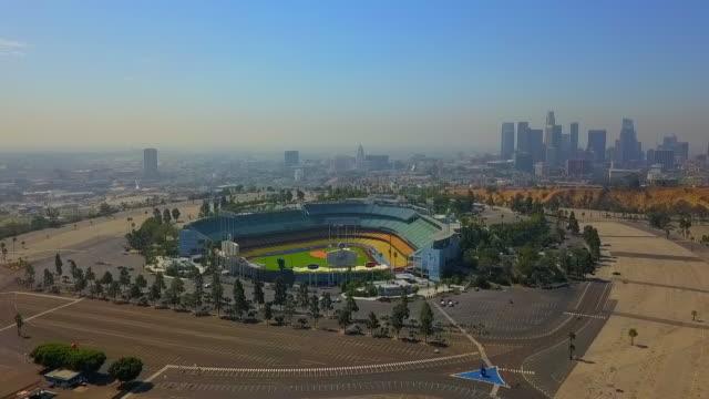 aerial: dodgers baseball stadium - baseball diamond stock videos & royalty-free footage